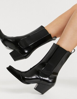 Monki Lexi faux leather square toe western boots in black