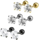 Charisma 3mm Stainless Steel Cubic Zirconia Crystal Cartilage Helix Tragus Barbell Stud Earrings Body Piercing (3 Pairs)