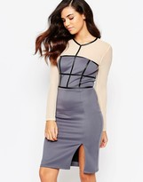 Amy Childs Paige Pencil Dress with Mesh Sleeves