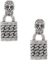 Nicole Miller Skull Punk Lock Earrings