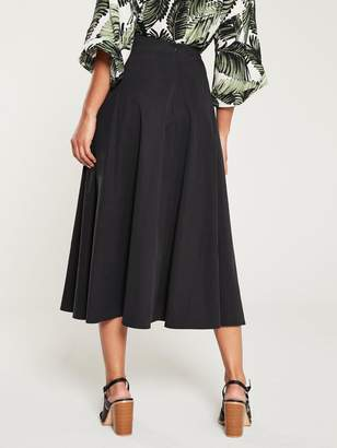 Very Button Front Split Skirt - Black