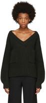 Chloé Green Oversized Pocket V-neck Sweater