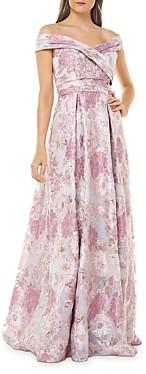 Carmen Marc Valvo Off-the-Shoulder Metallic Floral Gown