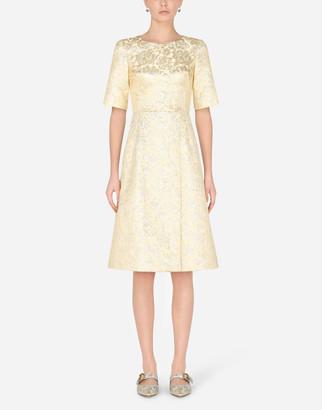 Dolce & Gabbana Short-Sleeved Midi Dress In Lame Jacquard