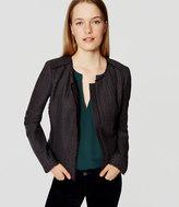 LOFT Petite Fringe Tweed Zip Jacket