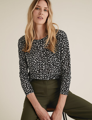 Marks and Spencer Animal Print Relaxed Long Sleeve Top