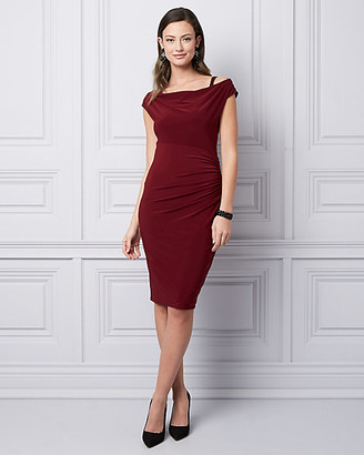 Le Château Embellished Knit Cowl Neck Dress