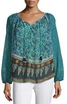 Calypso St. Barth Keaton Long-Sleeve Mixed-Print Top, Blue