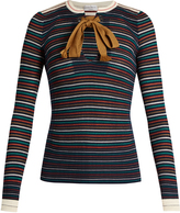 Sonia Rykiel Tie-neck striped-knit cotton top