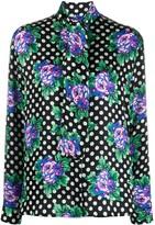 Balenciaga floral polka dot blouse