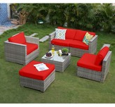 6 Piece Rattan Sectional Seating Group with Cushions Latitude Run Cushion Color: Red, Frame Finish: Gray