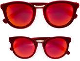 MonnaLisa flocked mirrored sunglasses set