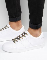 Asos Lace Up Sneakers in White Snakeskin Effect With Camo Laces