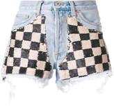 Off-White sequin check denim shorts