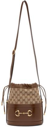 Gucci Brown and Tan 1955 Horsebit Bucket Bag