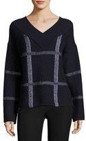 Armani Collezioni Check Virgin Wool-Cashmere V-Neck Sweater, Navy