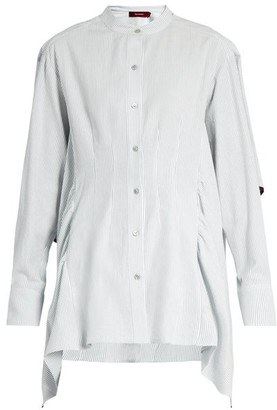 Sies Marjan Ruffled Cotton-seersucker Shirt - Womens - Light Blue