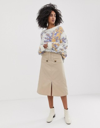 ASOS twill midi skirt with front storm flaps