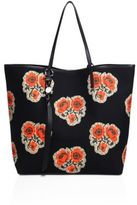Alexander McQueen Skull Open Rose-Print Canvas Shopper