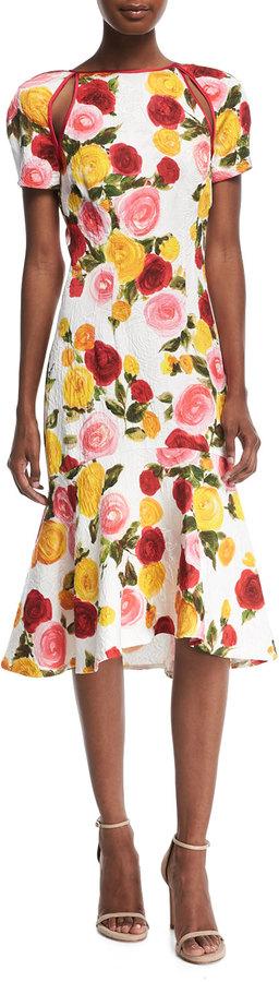 Naeem Khan High-Neck Floral-Print Matelassé Midi Cocktail Dress