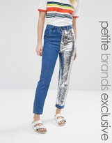 Liquor & Poker Petite Boyfriend Jeans With One Sequin Leg