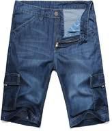 OCHENTA Men's Loose Fit Big & Tall Jean Cargo Shorts