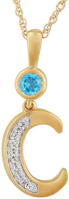 Fine Jewelry C Womens Genuine Blue Topaz 14K Gold Over Silver Pendant Necklace