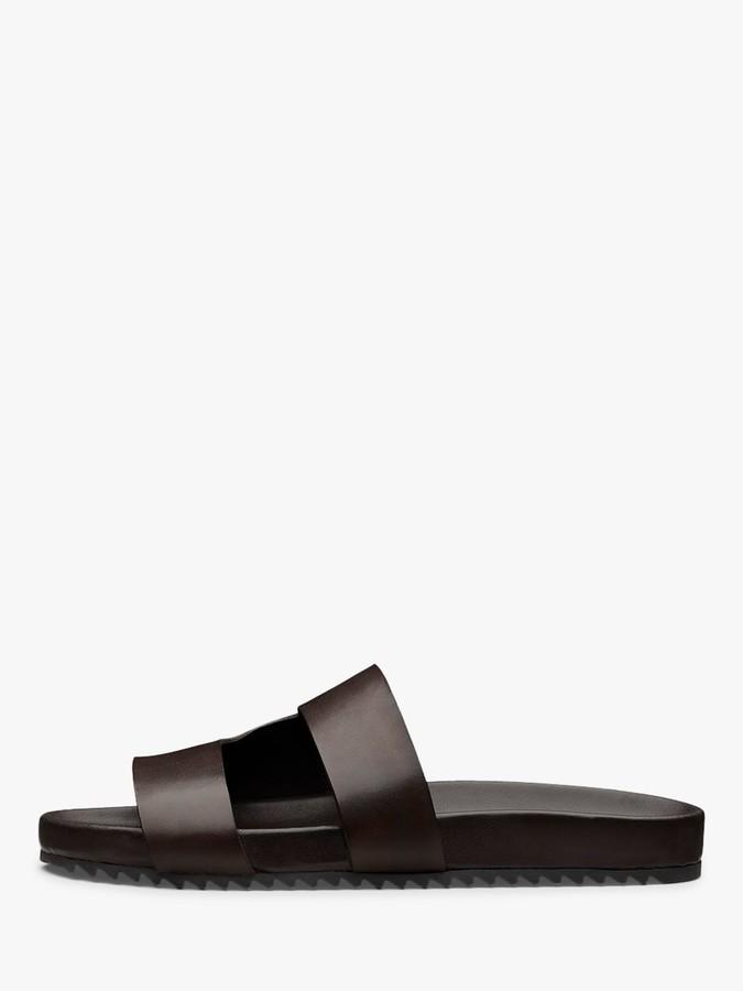 Grenson Chadwick Leather Slider Sandals, Tan