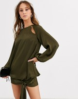 Asos Design DESIGN mini dress in satin with cut outs and blouson hem