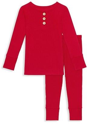 Posh Peanut Baby's, Little Kid's & Kid's 2-Piece Ribbed Long-Sleeve Henley Top & Pants Pajama Set