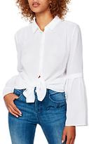 Mint Velvet Striped Burnout Shirt, Ivory
