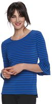 Elle Women's ELLETM Striped Ruffle Top