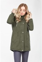 Select Fashion Fashion Womens Green Borg Lined Hooded Parka - size 6