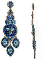 Miguel Ases Long Chandelier Beaded Drop Earrings
