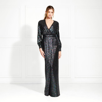 Rachel Zoe Stellabella Long-Sleeve Iridescent Sequin Gown