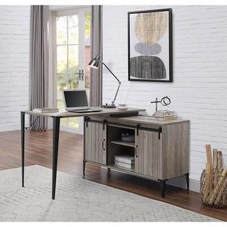 Gracie Oaks Galeano L-Shape Desk Color (Top/Frame): Gray Oak/Black