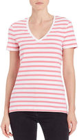 Lord & Taylor Plus Striped V-Neck Tee