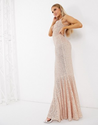 I SAW IT FIRST metallic sequin cowl neck maxi dress in gold