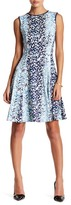 Gabby Skye Leaf Print Sleeveless Jersey Dress
