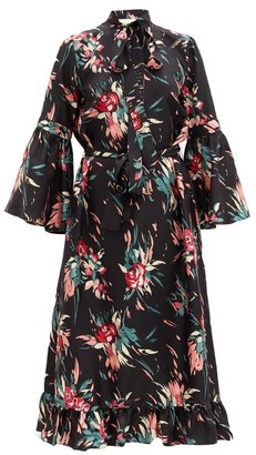 La DoubleJ Floral-print Fluted Silk-twill Dress - Black Print