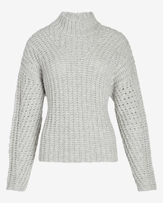 Express Metallic Mock Neck Dolman Sleeve Sweater