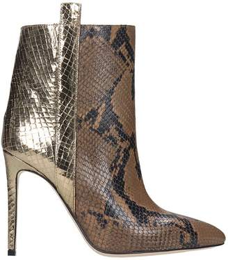 Paris Texas High Heels Ankle Boots In Gold Leather