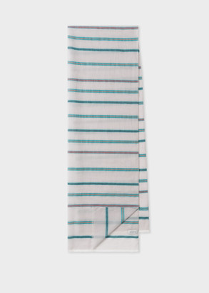 Paul Smith Women's Grey Stripe Cotton And Linen-Blend Scarf