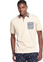 Sean John Big & Tall Woven Collar Chambray Pocket Polo