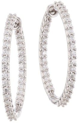 Hearts On Fire HOF Classics 18K White Gold, Round Diamond Inside-Out Hoop Earrings