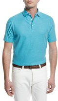 Isaia Short-Sleeve Pique Polo Shirt, Aqua