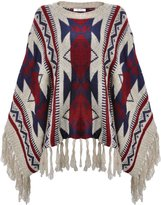 ZLYC Women Bohemian Geometric Stripe Aztec Cape Sweater Pullover with Fringe Trim