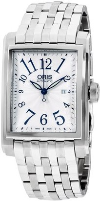 Oris Rectangular Silver Dial Stainless Steel Unisex Watch 56176574061MB