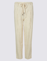 M&S Collection Linen Rich Striped Tapered Leg Trousers