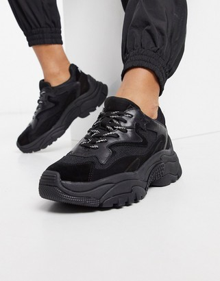 Ash Addict leather chunky sole trainers in black